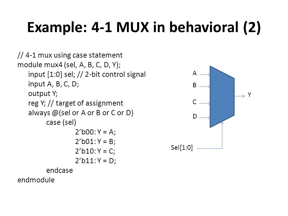 Example: 4-1 MUX in behavioral (2) // 4-1 mux using case statement module mux4 (sel, A, B, C, D, Y); input [1:0] sel; // 2-bit control signal input A, B, C, D; output Y; reg Y; // target of assignment always @(sel or A or B or C or D) case (sel) 2'b00: Y = A; 2'b01: Y = B; 2'b10: Y = C; 2'b11: Y = D; endcase endmodule A B C D Y Sel[1:0]