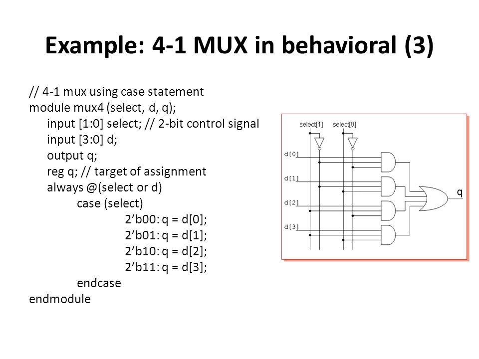 Example: 4-1 MUX in behavioral (3) // 4-1 mux using case statement module mux4 (select, d, q); input [1:0] select; // 2-bit control signal input [3:0]