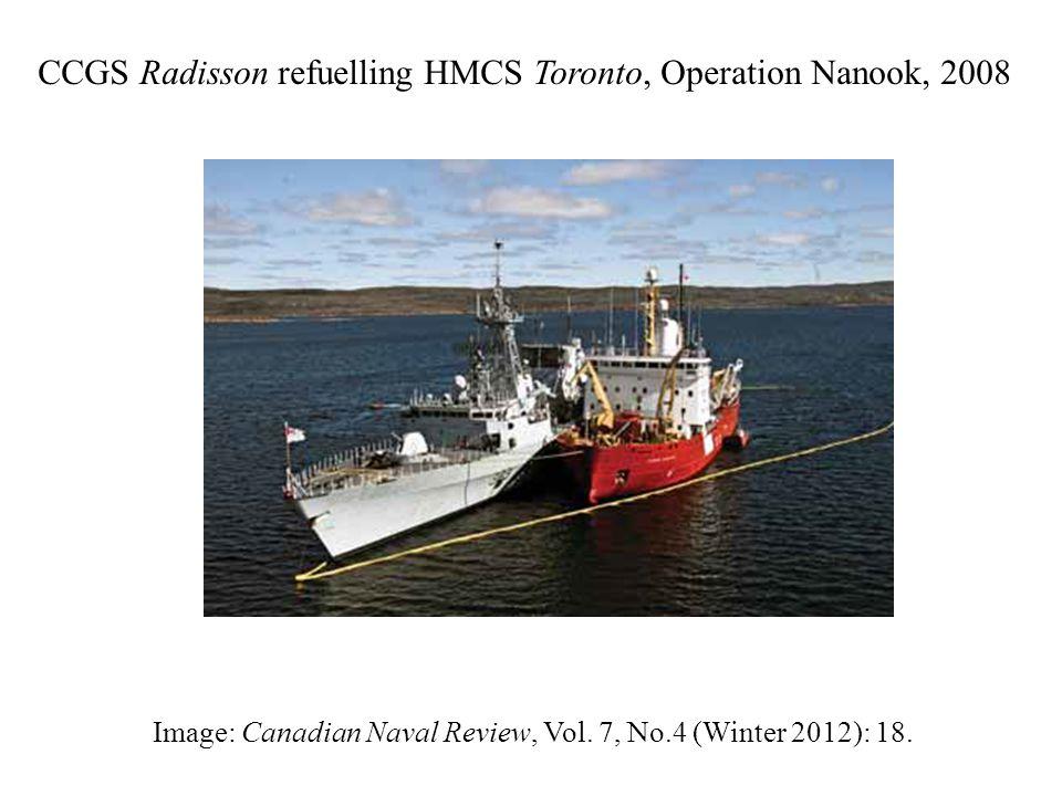 CCGS Radisson refuelling HMCS Toronto, Operation Nanook, 2008 Image: Canadian Naval Review, Vol.