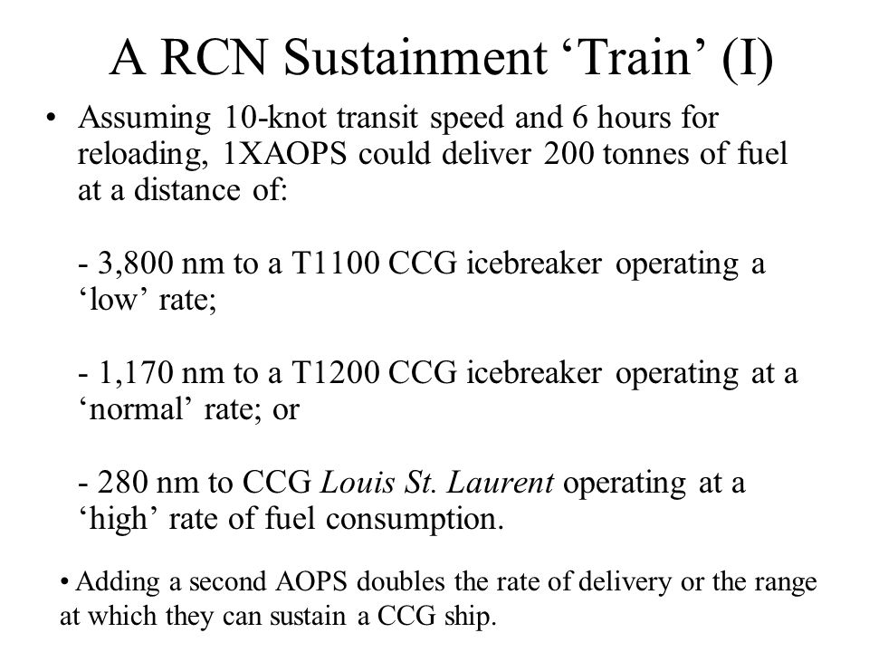 A RCN Sustainment 'Train' (I) Assuming 10-knot transit speed and 6 hours for reloading, 1XAOPS could deliver 200 tonnes of fuel at a distance of: - 3,800 nm to a T1100 CCG icebreaker operating a 'low' rate; - 1,170 nm to a T1200 CCG icebreaker operating at a 'normal' rate; or - 280 nm to CCG Louis St.
