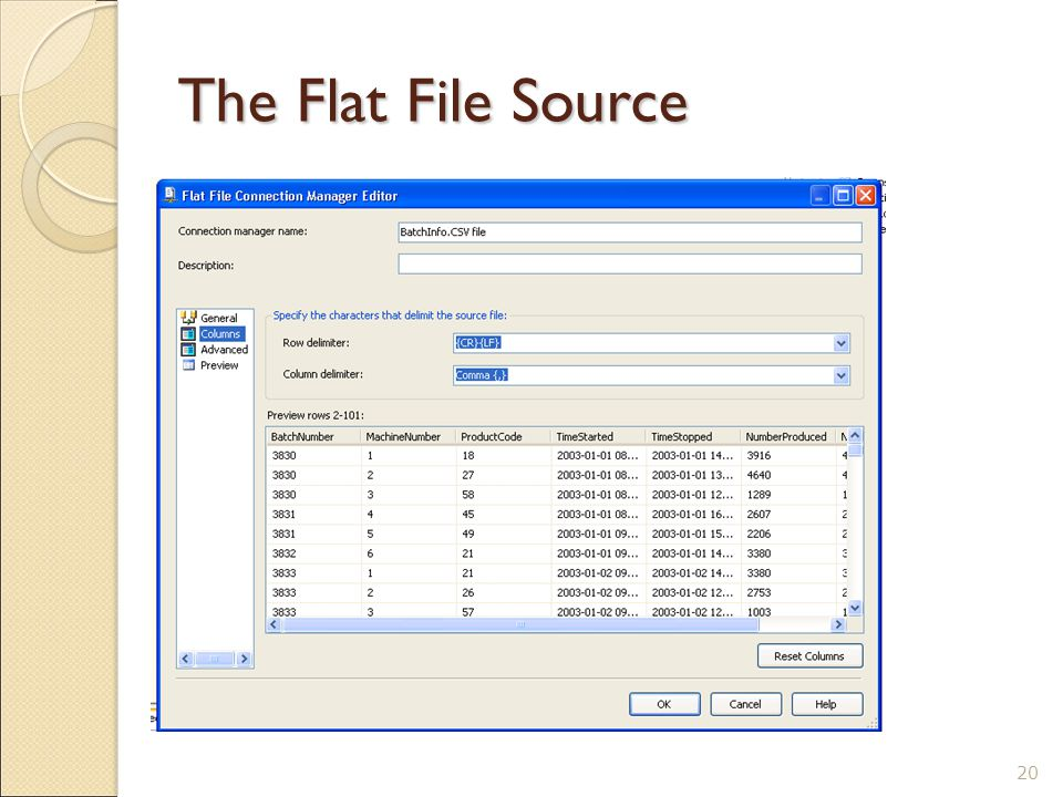 The Flat File Source 20