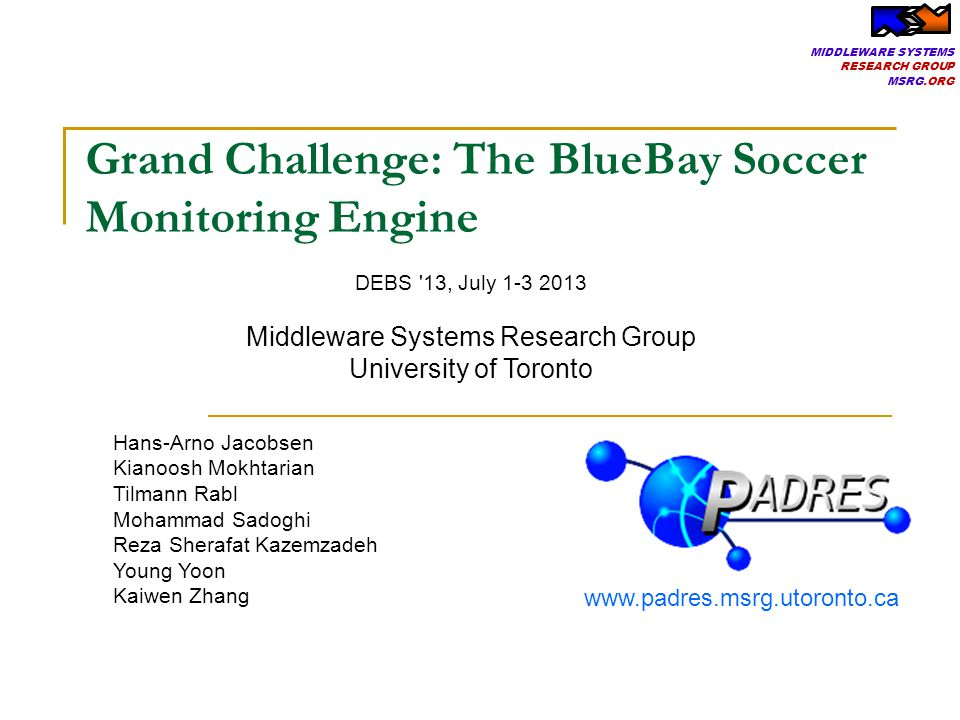 MIDDLEWARE SYSTEMS RESEARCH GROUP MSRG.ORG 2 GUI Client http://msrg.org/datasets/blue-bay
