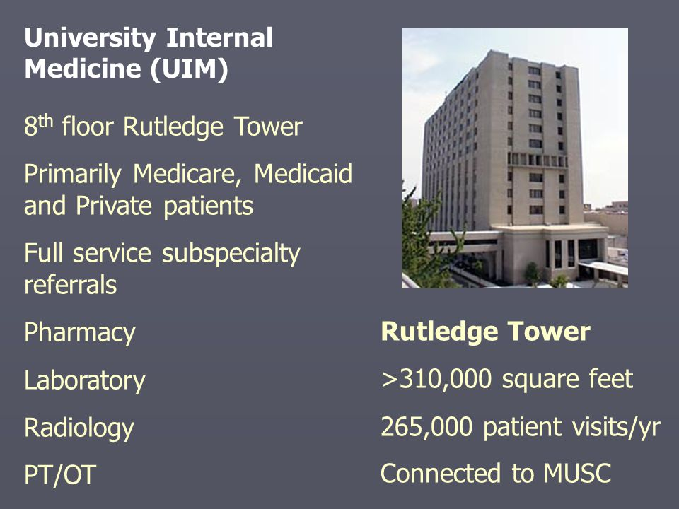 8 th floor Rutledge Tower Primarily Medicare, Medicaid and Private patients Full service subspecialty referrals Pharmacy Laboratory Radiology PT/OT University Internal Medicine (UIM) Rutledge Tower >310,000 square feet 265,000 patient visits/yr Connected to MUSC