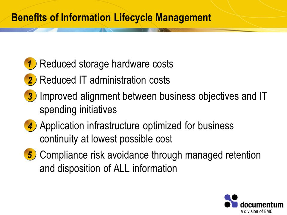 Benefits of Information Lifecycle Management Reduced storage hardware costs Reduced IT administration costs Improved alignment between business objectives and IT spending initiatives Application infrastructure optimized for business continuity at lowest possible cost Compliance risk avoidance through managed retention and disposition of ALL information 12345