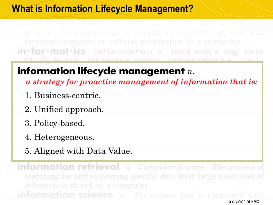 The Process of Information Lifecycle Management Classify information based on its value Identify Information Groups and their current service levels Verify that each Information Group is receiving the correct level of service Monitor, evaluate, and align service levels on an ongoing basis Assess the value of the information to the organization.