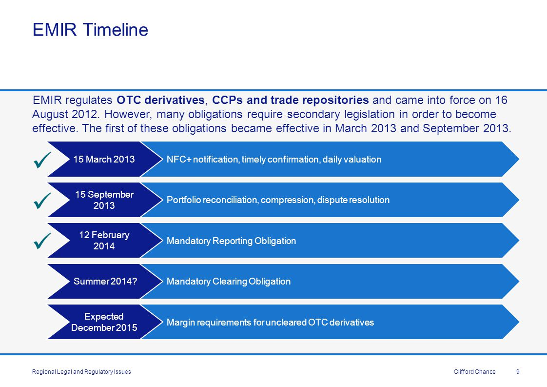 Clifford Chance Results of Quantitative Impact Study QIS based on data from 39 institutions including 19 large internationally active dealers QIS firms have €216 trillion of non-centrally cleared derivatives, representing 75% of global total Central clearing mandate will reduce gross notionals of uncleared derivatives by 46% Interest rate/equity derivatives expected to have biggest decline (53%, 56%) compared to FX/other asset classes (13%, 21%) Currently, QIS firms only hold €100bn initial margin against uncleared derivatives Represents 0.03% of gross notional exposure.