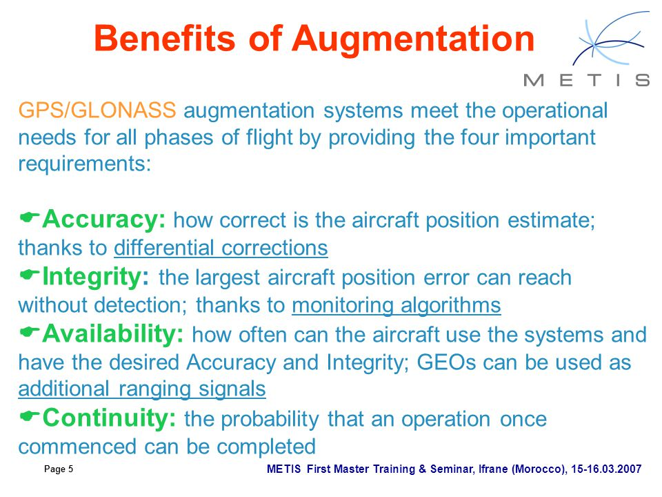 Page 5 METIS First Master Training & Seminar, Ifrane (Morocco), 15-16.03.2007 Benefits of Augmentation GPS/GLONASS augmentation systems meet the opera