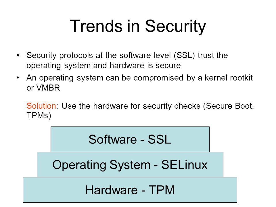 Trends in Security Security protocols at the software-level (SSL) trust the operating system and hardware is secure An operating system can be compromised by a kernel rootkit or VMBR Solution: Use the hardware for security checks (Secure Boot, TPMs)‏ Hardware - TPM Operating System - SELinux Software - SSL