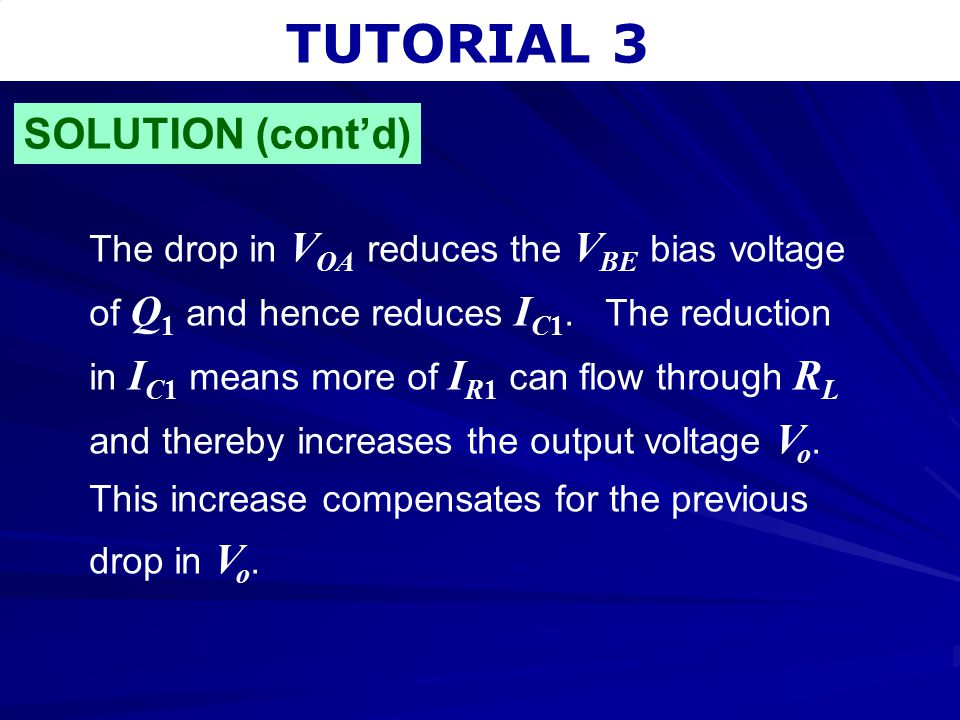 TUTORIAL 3 The drop in V OA reduces the V BE bias voltage of Q 1 and hence reduces I C1. The reduction in I C1 means more of I R1 can flow through R L