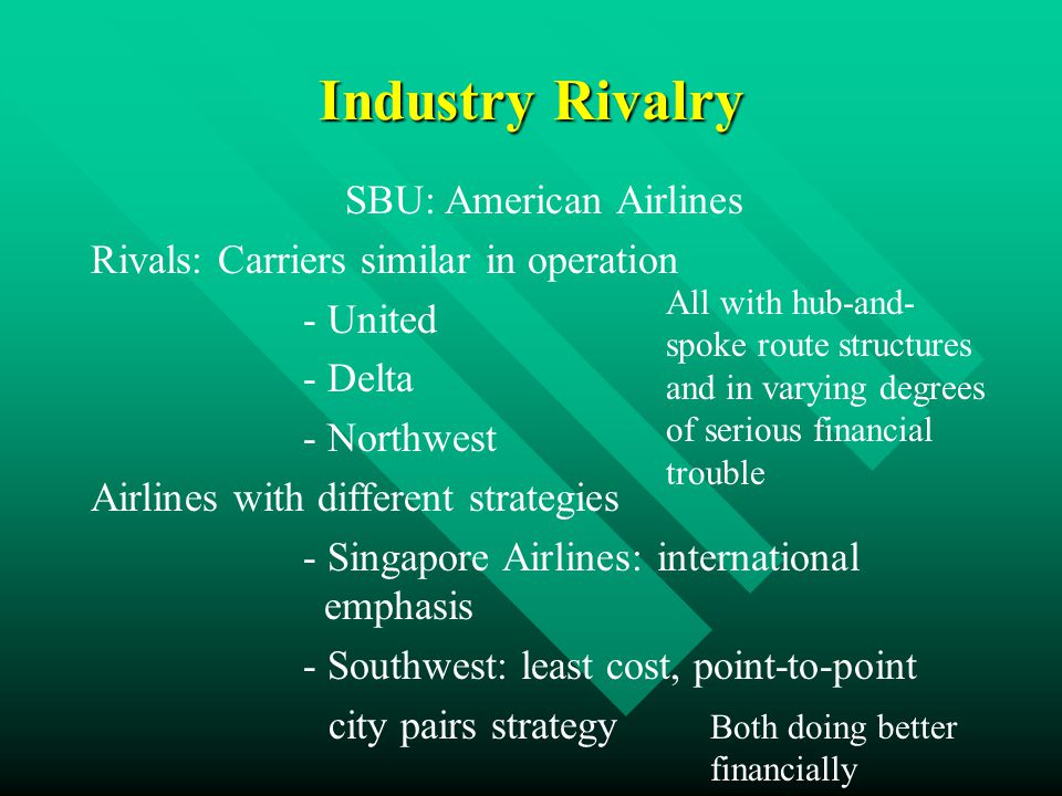 Industry Rivalry SBU: American Airlines Rivals: Carriers similar in operation - United - Delta - Northwest Airlines with different strategies - Singapore Airlines: international emphasis - Southwest: least cost, point-to-point city pairs strategy All with hub-and- spoke route structures and in varying degrees of serious financial trouble Both doing better financially