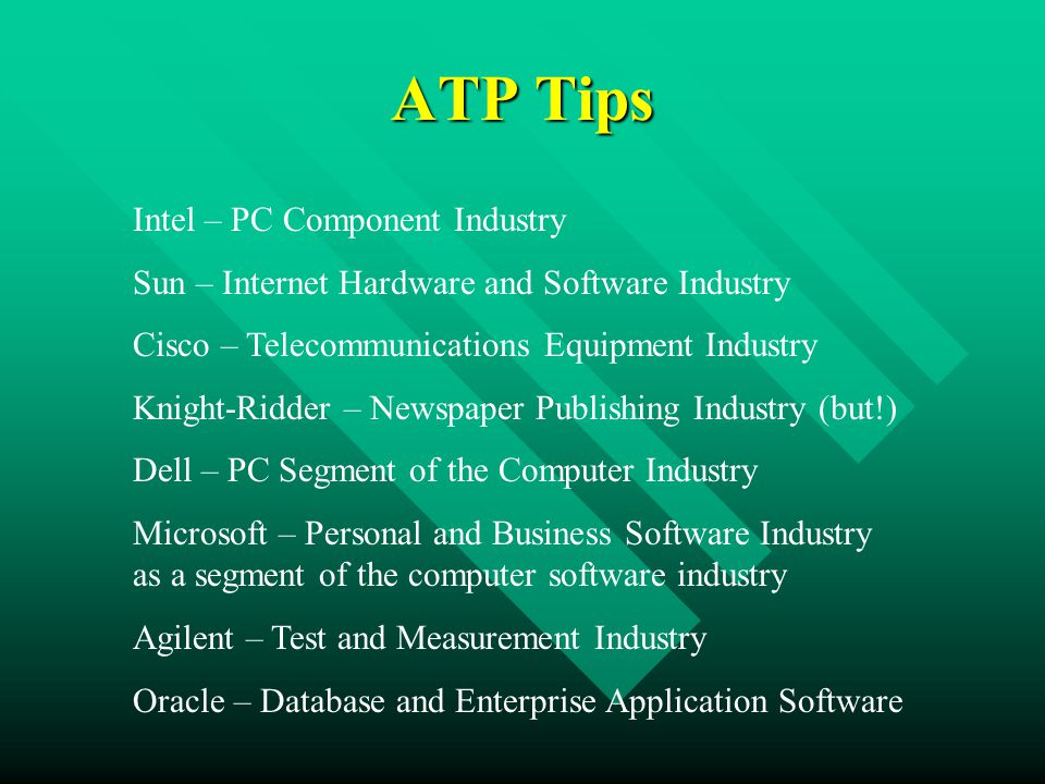 ATP Tips Intel – PC Component Industry Sun – Internet Hardware and Software Industry Cisco – Telecommunications Equipment Industry Knight-Ridder – Newspaper Publishing Industry (but!) Dell – PC Segment of the Computer Industry Microsoft – Personal and Business Software Industry as a segment of the computer software industry Agilent – Test and Measurement Industry Oracle – Database and Enterprise Application Software