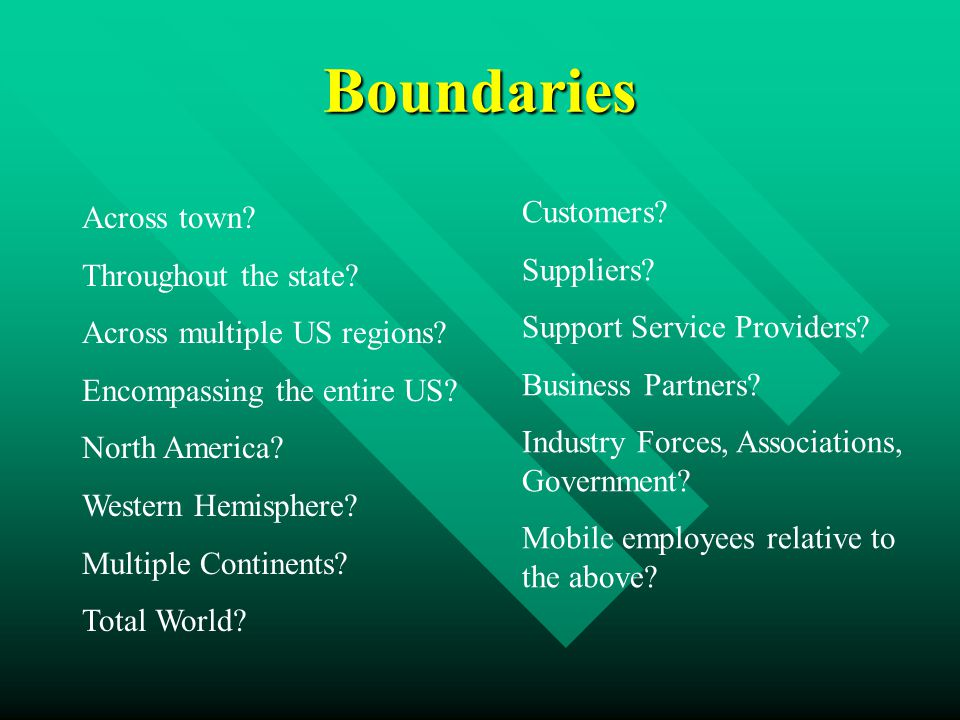 Boundaries Across town. Throughout the state. Across multiple US regions.