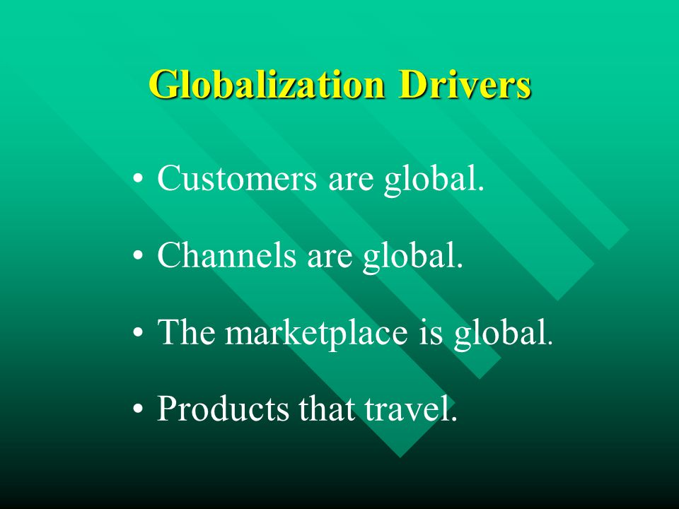 Globalization Drivers Customers are global. Channels are global.