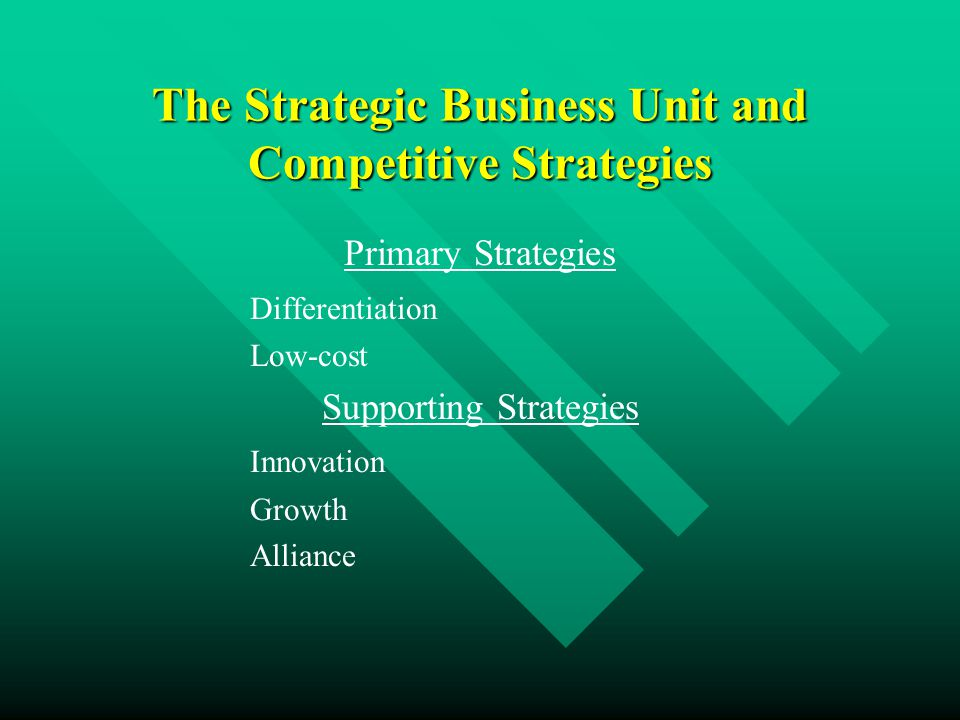 The Strategic Business Unit and Competitive Strategies Primary Strategies Differentiation Low-cost Supporting Strategies Innovation Growth Alliance