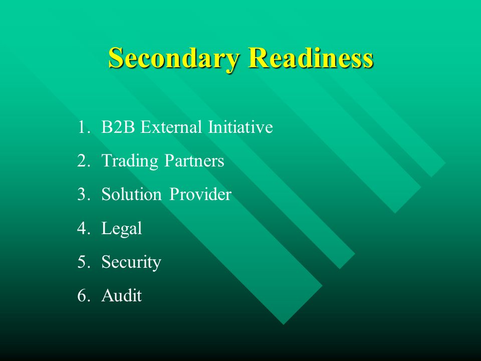 Secondary Readiness 1.B2B External Initiative 2.Trading Partners 3.Solution Provider 4.Legal 5.Security 6.Audit