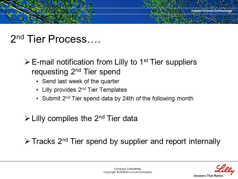 Supplier Diversity Development Company Confidential Copyright © 2009 Eli Lilly and Company 2 nd Tier Process….