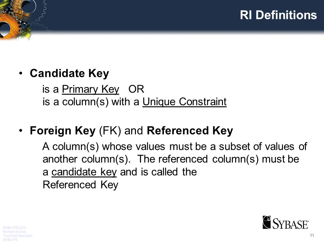 11 EMEA FR/2003 Richard Soundy Technical Specialist EMEA PS RI Definitions Candidate Key is a Primary Key OR is a column(s) with a Unique Constraint Foreign Key (FK) and Referenced Key A column(s) whose values must be a subset of values of another column(s).