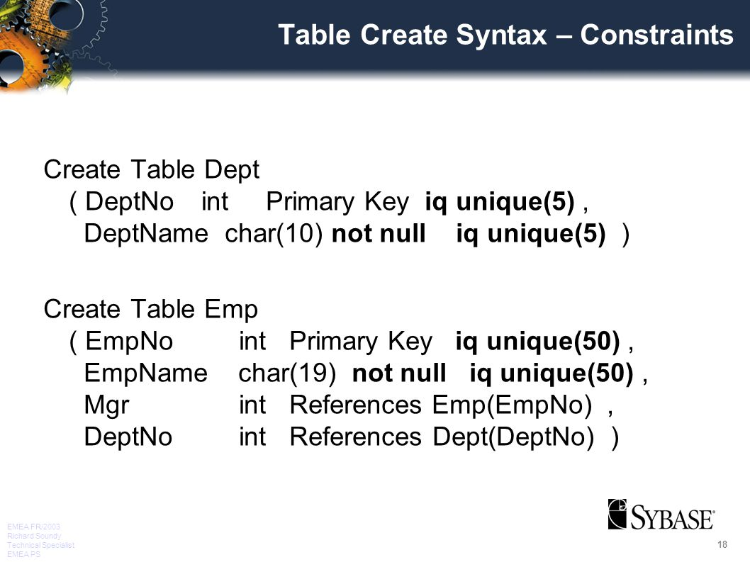 18 EMEA FR/2003 Richard Soundy Technical Specialist EMEA PS Table Create Syntax – Constraints Create Table Dept ( DeptNo int Primary Key iq unique(5), DeptName char(10) not null iq unique(5) ) Create Table Emp ( EmpNo int Primary Key iq unique(50), EmpName char(19) not null iq unique(50), Mgr int References Emp(EmpNo), DeptNo int References Dept(DeptNo) )