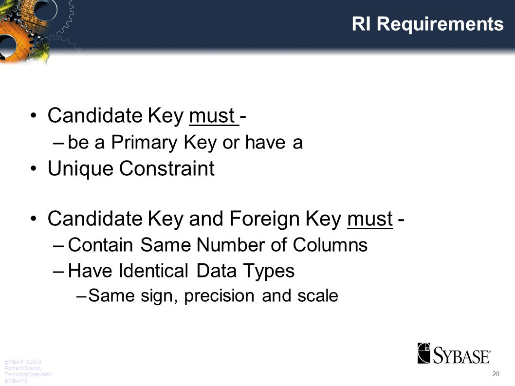 20 EMEA FR/2003 Richard Soundy Technical Specialist EMEA PS RI Requirements Candidate Key must - –be a Primary Key or have a Unique Constraint Candidate Key and Foreign Key must - –Contain Same Number of Columns –Have Identical Data Types –Same sign, precision and scale