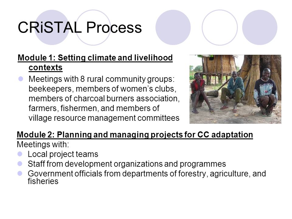 CRiSTAL Process Module 1: Setting climate and livelihood contexts Meetings with 8 rural community groups: beekeepers, members of women's clubs, members of charcoal burners association, farmers, fishermen, and members of village resource management committees Module 2: Planning and managing projects for CC adaptation Meetings with: Local project teams Staff from development organizations and programmes Government officials from departments of forestry, agriculture, and fisheries