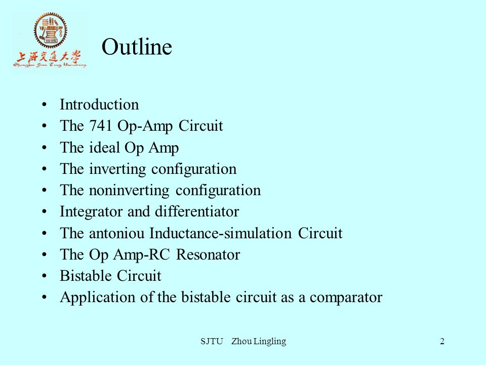 SJTU Zhou Lingling13 The Biasing Circuits Reference current is generated by Q 12, Q 11 and R 5.