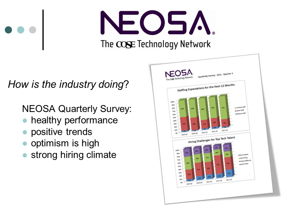 How is the industry doing? NEOSA Quarterly Survey: healthy performance positive trends optimism is high strong hiring climate