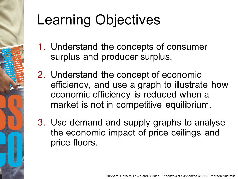 Hubbard, Garnett, Lewis and O'Brien: Essentials of Economics © 2010 Pearson Australia Learning Objectives 4.Use demand and supply graphs to analyse the economic impact of taxes.