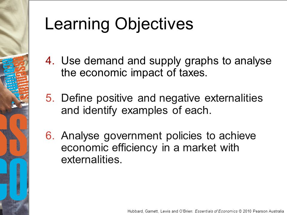 Hubbard, Garnett, Lewis and O'Brien: Essentials of Economics © 2010 Pearson Australia Learning Objectives 4.Use demand and supply graphs to analyse th