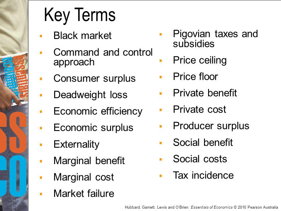 Hubbard, Garnett, Lewis and O'Brien: Essentials of Economics © 2010 Pearson Australia  Black market  Command and control approach  Consumer surplus