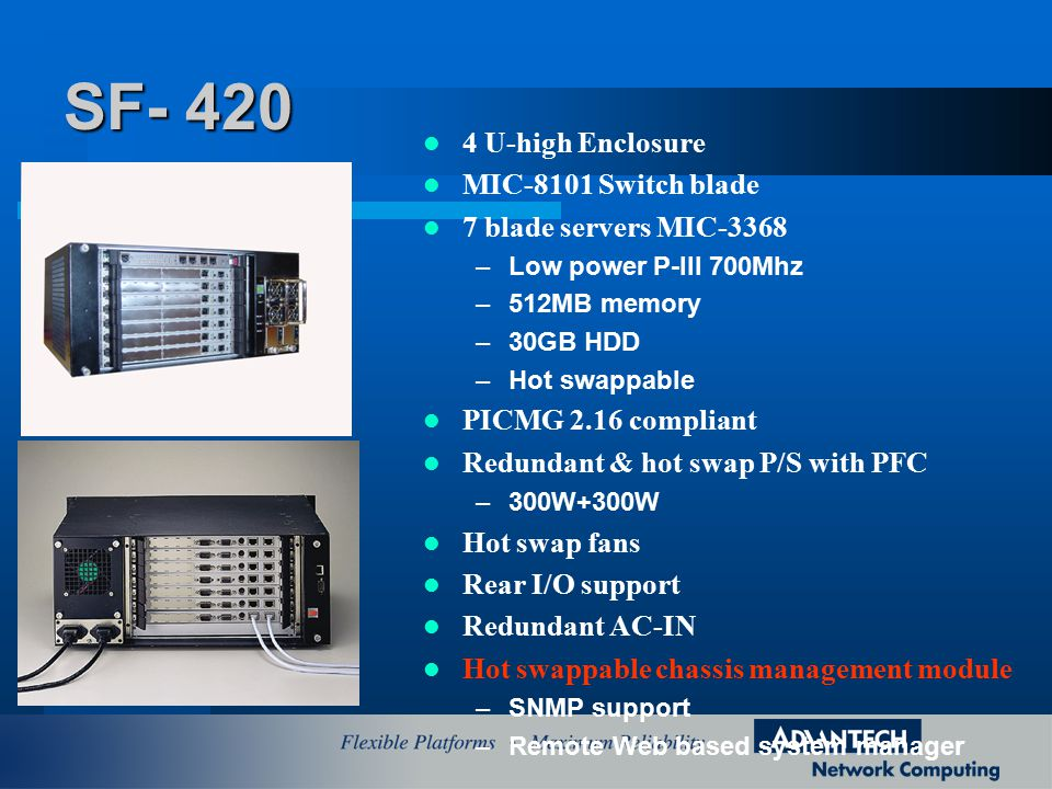 4 U-high Enclosure MIC-8101 Switch blade 7 blade servers MIC-3368 –Low power P-III 700Mhz –512MB memory –30GB HDD –Hot swappable PICMG 2.16 compliant Redundant & hot swap P/S with PFC –300W+300W Hot swap fans Rear I/O support Redundant AC-IN Hot swappable chassis management module –SNMP support –Remote Web based system manager SF- 420