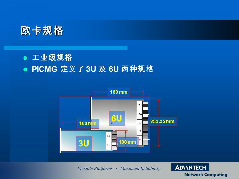 欧卡规格 工业级规格 PICMG 定义了 3U 及 6U 两种规格 100 mm 160 mm 233.35 mm 160 mm 3U 6U