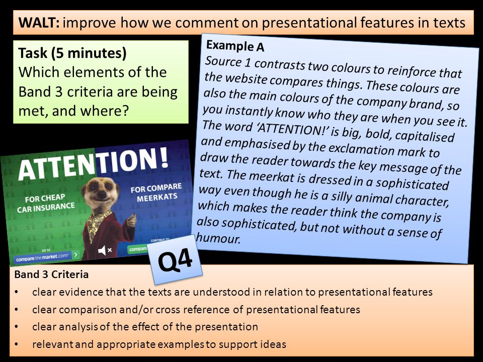 Band 3 Criteria clear evidence that the texts are understood in relation to presentational features clear comparison and/or cross reference of presentational features clear analysis of the effect of the presentation relevant and appropriate examples to support ideas Band 3 Criteria clear evidence that the texts are understood in relation to presentational features clear comparison and/or cross reference of presentational features clear analysis of the effect of the presentation relevant and appropriate examples to support ideas WALT: improve how we comment on presentational features in texts Task (5 minutes) Which elements of the Band 3 criteria are being met, and where.