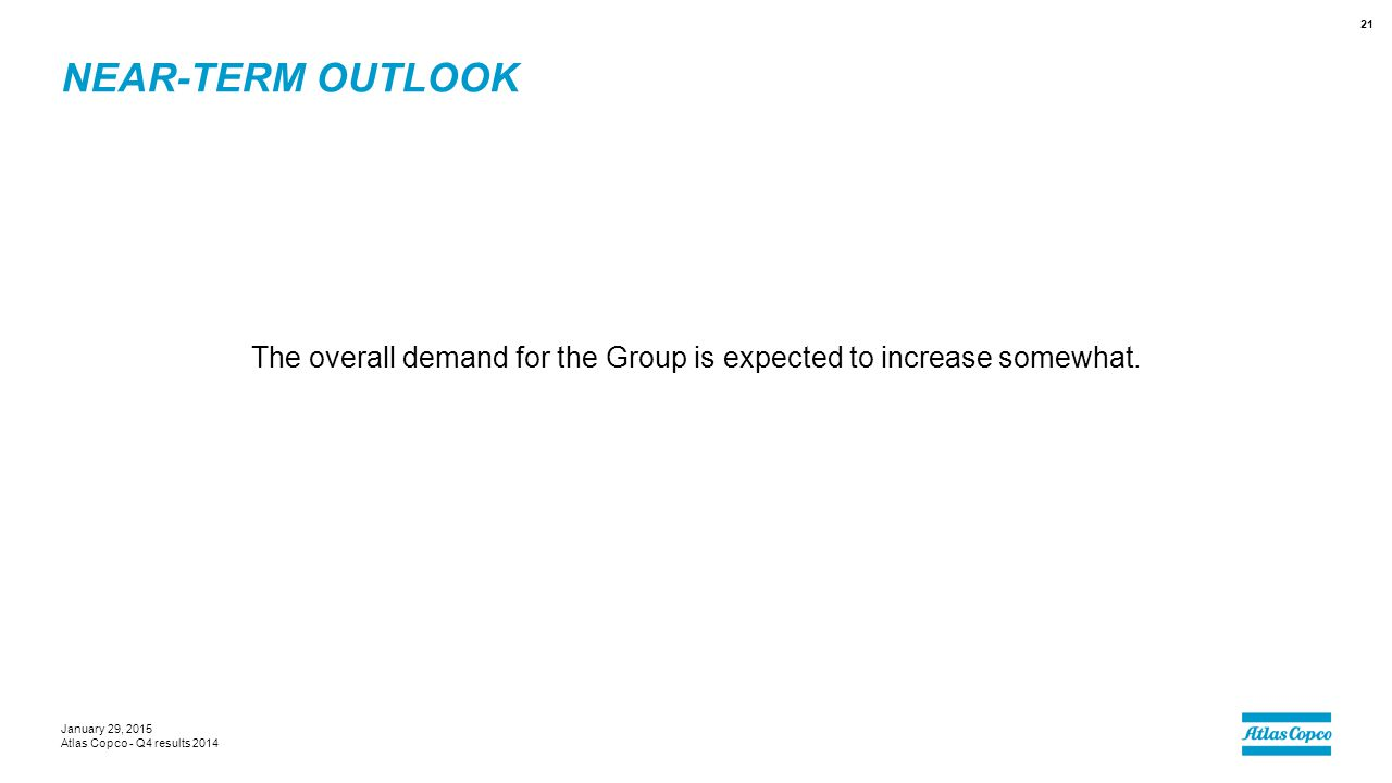 NEAR-TERM OUTLOOK The overall demand for the Group is expected to increase somewhat. January 29, 2015 Atlas Copco - Q4 results 2014 21