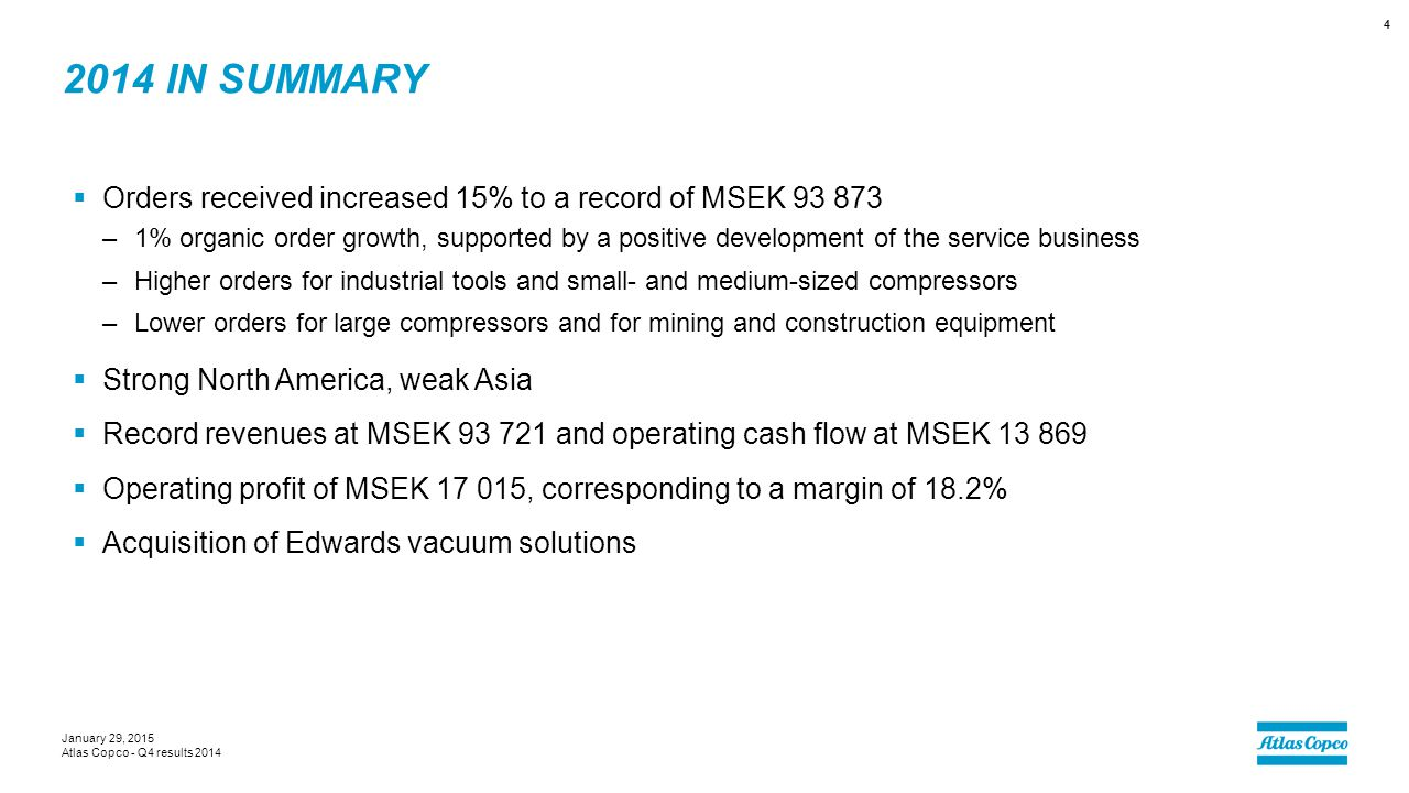 2014 IN SUMMARY  Orders received increased 15% to a record of MSEK 93 873 –1% organic order growth, supported by a positive development of the servic