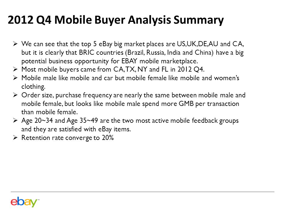 2012 Q4 Mobile Buyer Analysis Summary  We can see that the top 5 eBay big market places are US,UK,DE,AU and CA, but it is clearly that BRIC countries