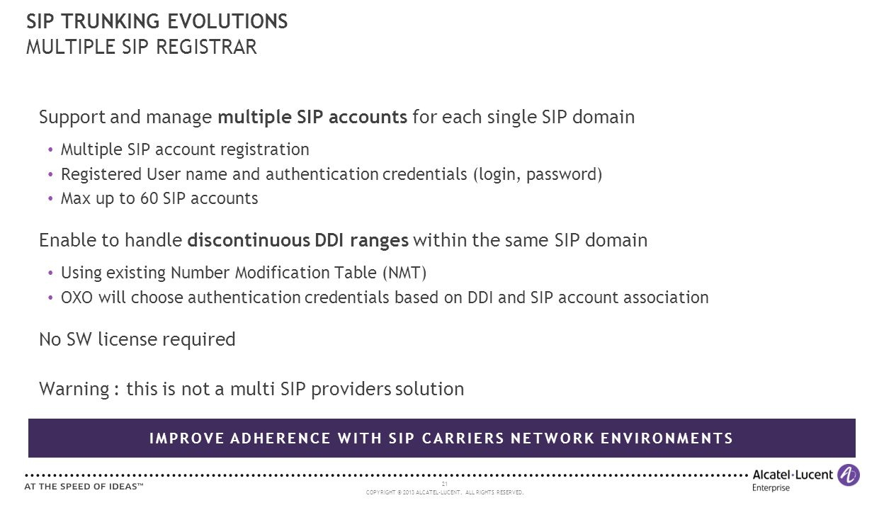 21 COPYRIGHT © 2013 ALCATEL-LUCENT. ALL RIGHTS RESERVED. Support and manage multiple SIP accounts for each single SIP domain Multiple SIP account regi