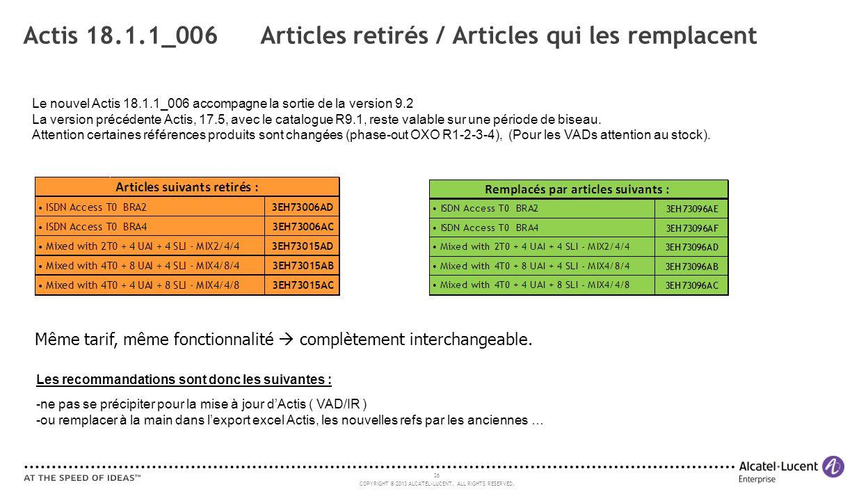 26 COPYRIGHT © 2013 ALCATEL-LUCENT. ALL RIGHTS RESERVED. Actis 18.1.1_006 Articles retirés / Articles qui les remplacent Le nouvel Actis 18.1.1_006 ac