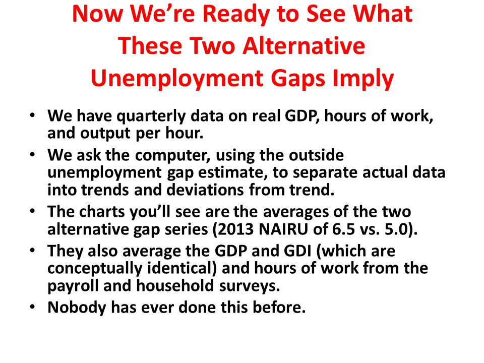 Now We're Ready to See What These Two Alternative Unemployment Gaps Imply We have quarterly data on real GDP, hours of work, and output per hour.