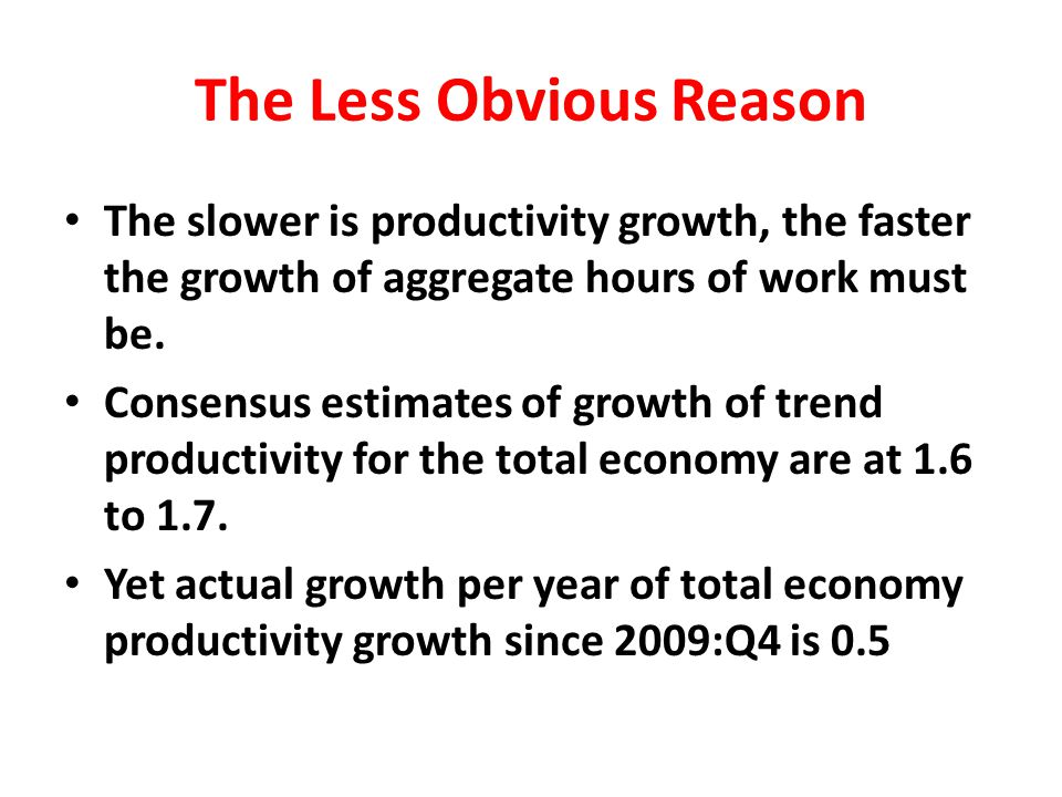 The Less Obvious Reason The slower is productivity growth, the faster the growth of aggregate hours of work must be.