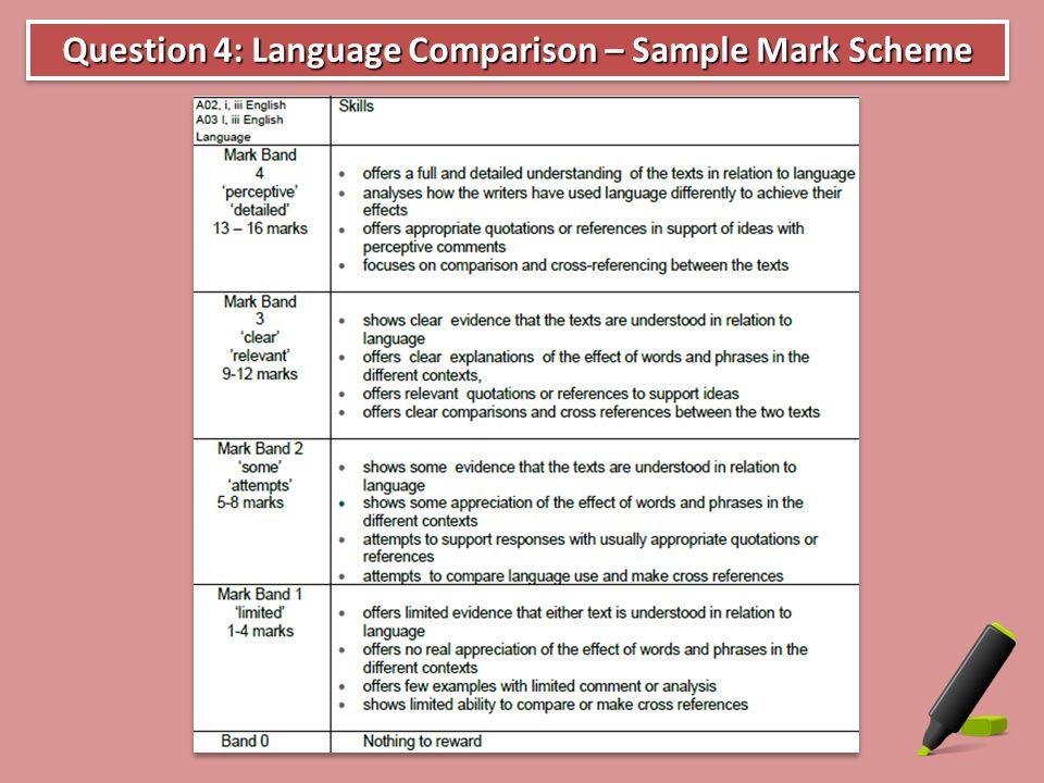 Question 4: Language Comparison – Sample Mark Scheme