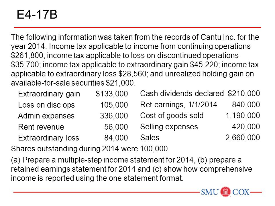E4-17B The following information was taken from the records of Cantu Inc. for the year 2014. Income tax applicable to income from continuing operation