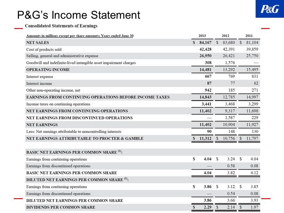 P&G's Income Statement