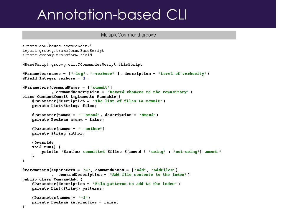 Annotation-based CLI