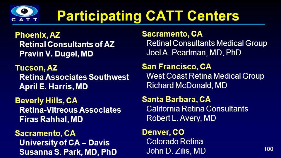 Participating CATT Centers 100 Phoenix, AZ Retinal Consultants of AZ Pravin V. Dugel, MD Tucson, AZ Retina Associates Southwest April E. Harris, MD Be