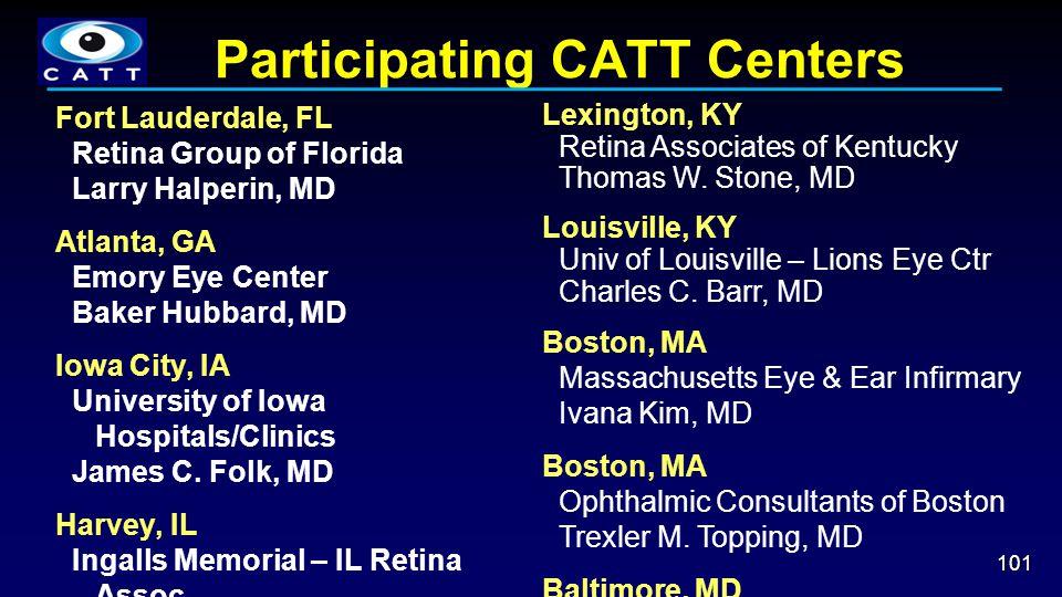 Participating CATT Centers 101 Fort Lauderdale, FL Retina Group of Florida Larry Halperin, MD Atlanta, GA Emory Eye Center Baker Hubbard, MD Iowa City