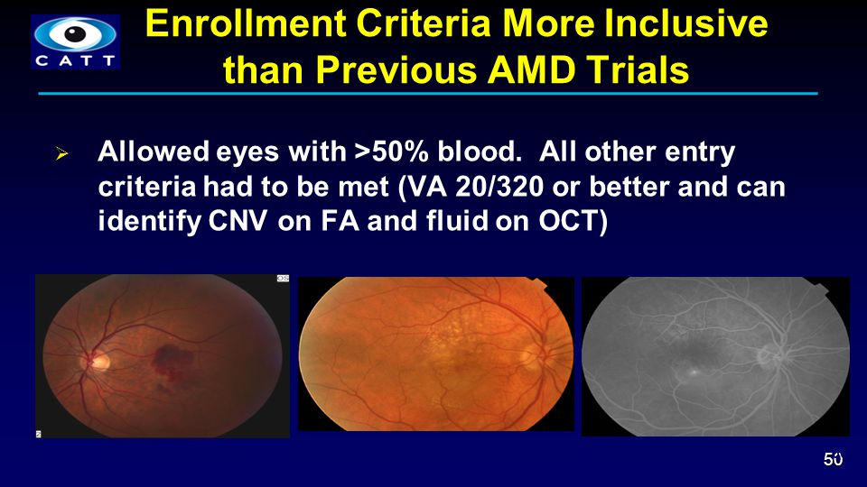 Enrollment Criteria More Inclusive than Previous AMD Trials  Allowed eyes with >50% blood.