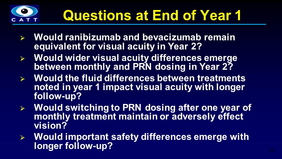 Questions at End of Year 1  Would ranibizumab and bevacizumab remain equivalent for visual acuity in Year 2?  Would wider visual acuity differences