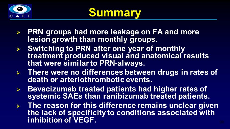 Summary  PRN groups had more leakage on FA and more lesion growth than monthly groups.