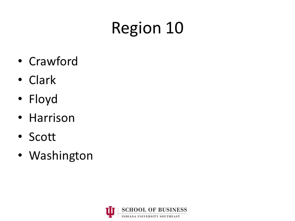 Region 10 Crawford Clark Floyd Harrison Scott Washington