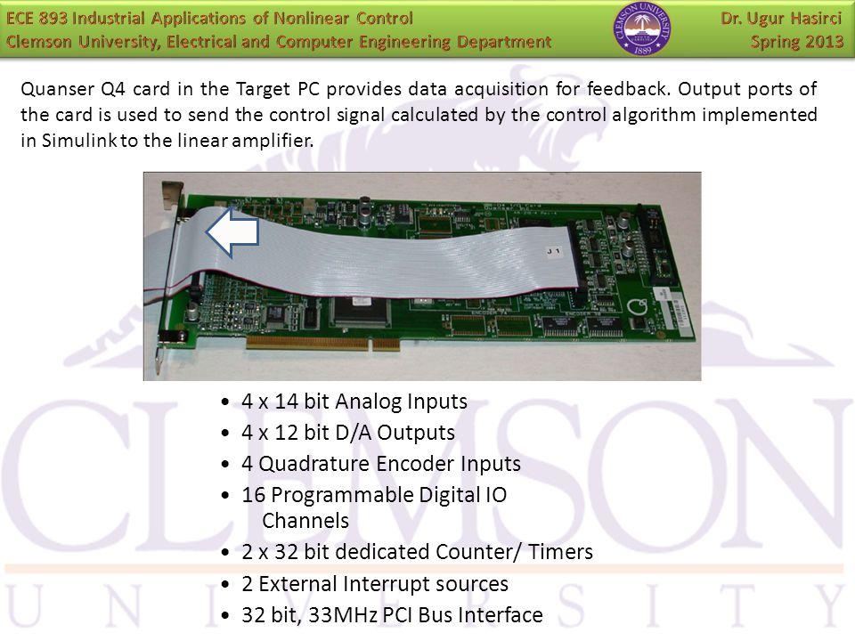 4 x 14 bit Analog Inputs 4 x 12 bit D/A Outputs 4 Quadrature Encoder Inputs 16 Programmable Digital IO Channels 2 x 32 bit dedicated Counter/ Timers 2